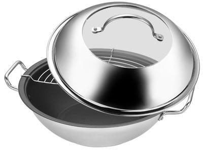 Сковорода-вок с антиприг.покрытием,решетка 30 см (мет.ручка)CL-1120