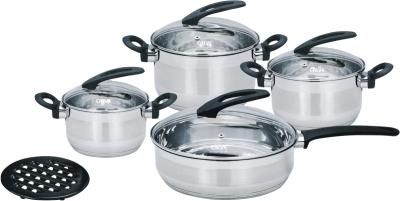 Набор кухонной посуды Calve, с подставкой, цвет: серебристый, 9 предметовCL-1807Набор Calve состоит из 3 кастрюль и сковороды с крышками и бакелитовой подставки. Изделия изготовлены из высококачественной нержавеющей стали. Комбинированная зеркальная и матовая полировка придает посуде безупречный внешний вид. Благодаря уникальной конструкции дна, тепло, проходя через металл, равномерно распределяется по стенкам посуды. Для приготовления пищи в такой посуде требуется минимальное количество масла, тем самым уменьшается риск потери витаминов и минералов в процессе термообработки продуктов. Крышки выполнены из жаростойкого прозрачного стекла, оснащены ручкой, металлическим ободом и отверстием для выпуска пара. Такие крышки позволяют следить за процессом приготовления пищи без потери тепла. Они плотно прилегают к краю и сохраняют аромат блюд. Бакелитовая подставка позволит без опасения поставить кастрюлю на любую поверхность. Подходит для всех типов плит, включая индукционные. Можно мыть в посудомоечной машине. Объем кастрюль:...
