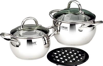 Набор кухонной посуды 5 пр., термоакк. дно, стекл. крышки, мет. ручкиCL-182018см Кастрюля с крышкой (2,6л) 20см Кастрюля с крышкой (3,6л) Черная бакелитовая подставка