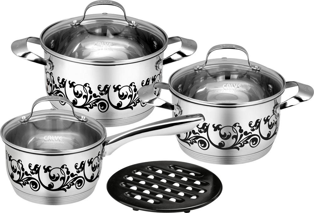 Набор кухонной посуды Calve, 7 предметов. CL-1875CL-1875Набор кухонной посуды Calve состоит из сотейника, двух кастрюль, 3 крышек и бакелитовой подставки. Предметы набора выполнены из нержавеющей стали. Изделия имеют удобные ручки эргономичной формы. Надежное крепление ручки гарантирует безопасность использования. Комбинированная крышка из высококачественной нержавеющей стали и жаропрочного стекла позволяет следить за процессом приготовления, не открывая крышки. Специальное отверстие для выхода пара позволяет готовить с закрытой крышкой, предотвращая выкипание. Бакелитовая подставка позволит без опасения поставить изделие на любую поверхность. Изделия имеют эксклюзивный термосенсор. При нагревании, рисунок на изделиях меняет цвет. Зеркальная полировка придает посуде стильный внешний вид. Подходят для всех видов плит, включая индукционные. Можно мыть в посудомоечной машине и использовать в духовом шкафу. В набор входят: - кастрюля с крышкой, диаметр 18 см, объем 1,7 л, -...