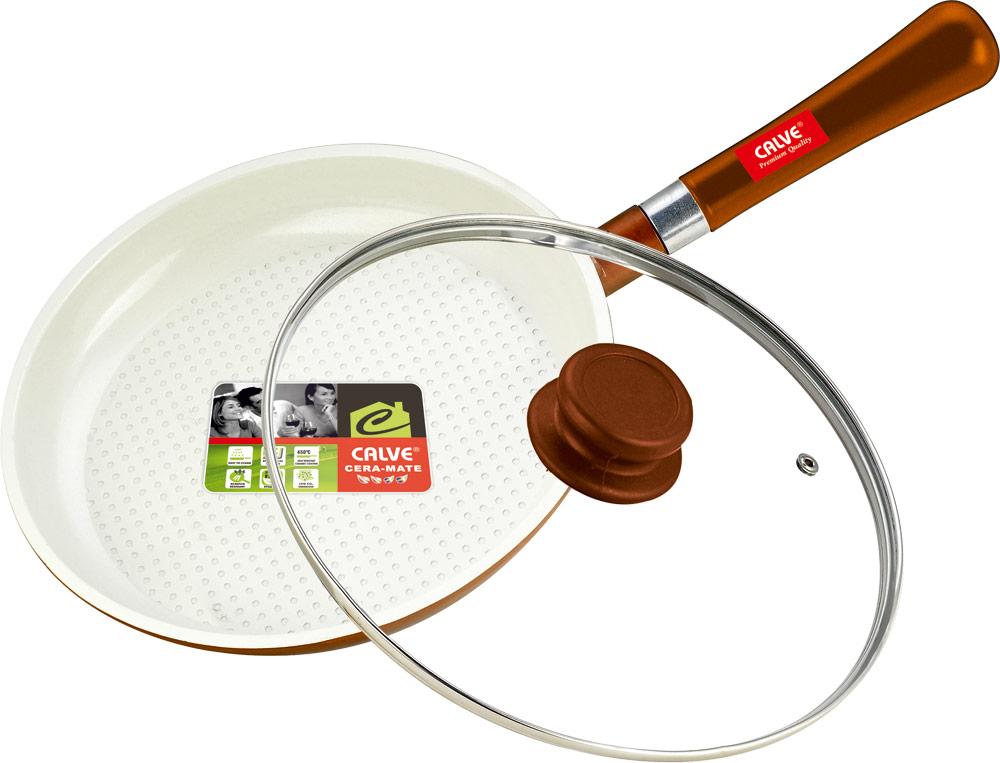 Сковорода Calve с крышкой, керамическое покрытие, со съемной ручкой, цвет: белый, оранжевый. Диаметр 24 смCL-1932Сковорода Calve выполнена из высококачественного литого алюминия с антипригарным покрытием CERA-MATE. Оно позволяет готовить с минимальным добавлением масла. Съемная деревянная ручка удобна в использовании и позволяет компактно хранить сковороду. Жаропрочная стеклянная крышка плотно прилегает к краям посуды, имеет отверстие для выхода пара и металлический обод. Подходит для газовых, электрических, стеклокерамических и галогенных плит. Можно мыть в посудомоечной машине. Диаметр по верхнему краю: 24 см. Толщина стенки: 2,5 мм.