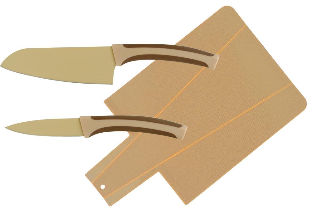 Набор ножей 3 предмета. CL-3117CL-3117Восточный нож Santoku (13 см) Нож для чистки (9 см) Доска разделочная (34x22x0,3 см)