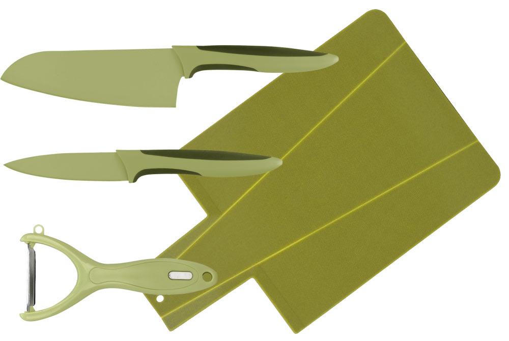 Набор ножей 4 предмета. CL-3119CL-3119Восточный нож Santoku (13 см) Нож для чистки (9 см) Овощечистка Доска разделочная (34x22x0,3 см)