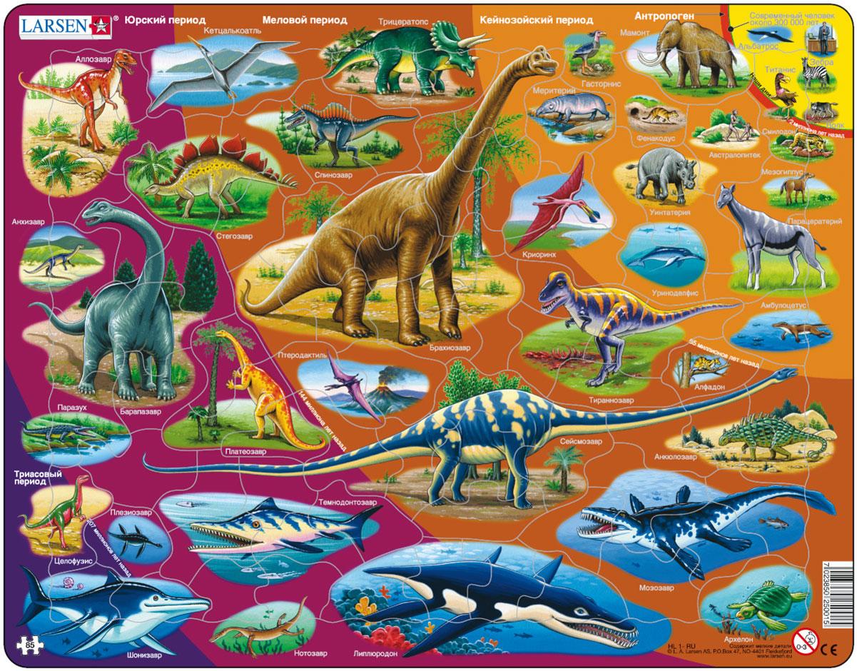 Larsen Пазл Динозавры HL1HL1Пазл Larsen Динозавры станет отличным развлечением для вашего ребенка. Пазл познакомит ребенка с динозаврами и вымершими рептилиями, позволяя проследить их эволюцию по периодам. Все млекопитающие подписаны на русском языке. Выполненные из высококачественного трехслойного картона, пазлы Larsen не деформируются. Все пазлы снабжены специальной подложкой, благодаря чему их удобно собирать. Игра с пазлами благоприятно влияет на развитие ребенка. Веселая игра сопровождается манипуляциями с мелкими предметами, сопоставлением и сложением деталей, в результате чего развивается сенсорное восприятие и мелкая моторика. Порадуйте своего малыша таким замечательным подарком!