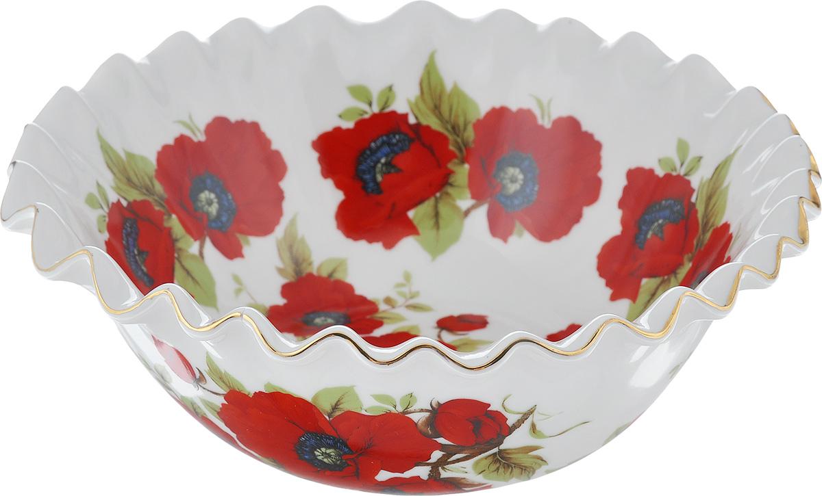 Салатник Elan Gallery Маки, 800 мл740130Великолепный салатник с волнистым краем Elan Gallery Маки, изготовленный из высококачественной керамики, прекрасно подойдет для подачи различных блюд: закусок, салатов или фруктов. Такой салатник украсит ваш праздничный или обеденный стол, а оригинальное исполнение понравится любой хозяйке. Диаметр салатника (по верхнему краю): 20 см. Высота салатника: 7,5 см. Объем салатника: 800 мл.