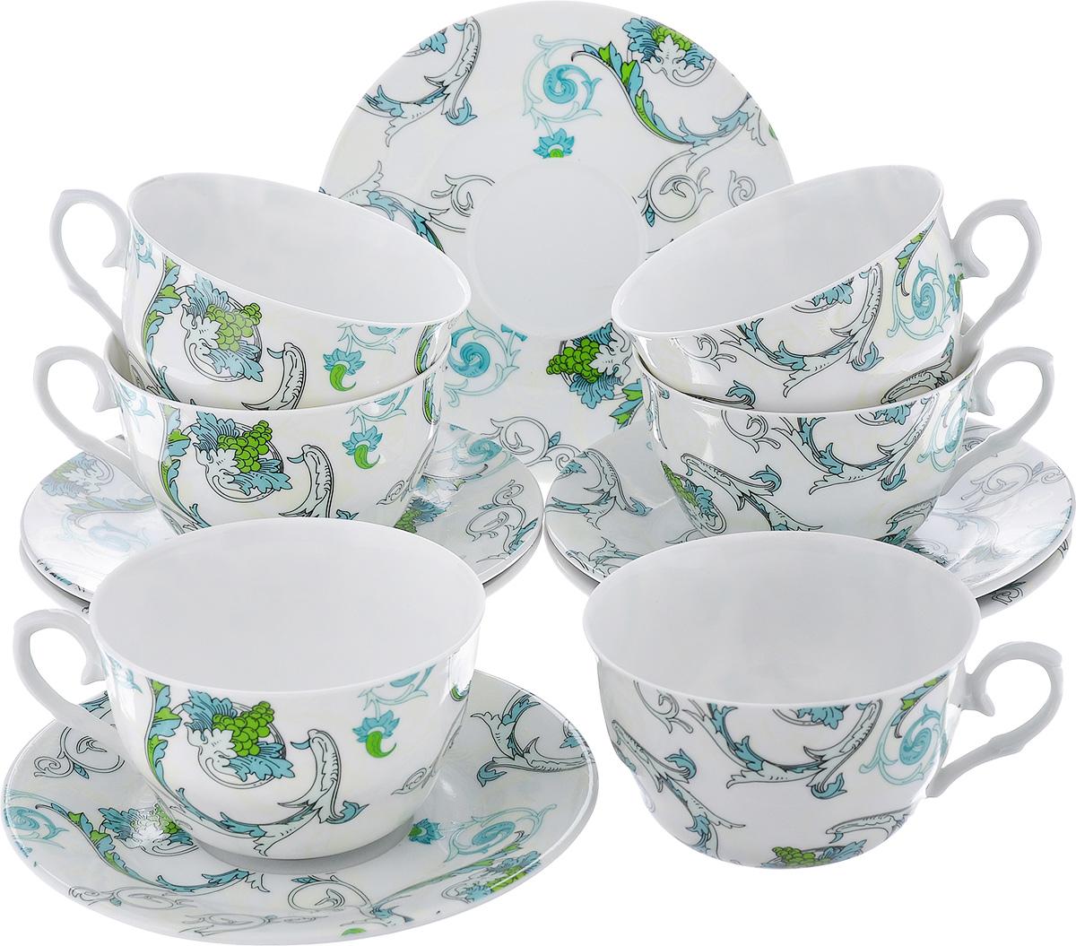 Чайный набор LarangE Рококо, цвет: белый, светло-зеленый, 12 предметов586-315Чайный набор LarangE Рококо состоит из шести чашек и шести блюдец, изготовленных из фарфора. Предметы набора оформлены изящным ярким рисунком. Чайный набор LarangE Рококо украсит ваш кухонный стол, а также станет замечательным подарком друзьям и близким. Объем чашки: 250 мл. Диаметр чашки по верхнему краю: 9,5 см. Высота чашки: 6 см. Диаметр блюдца: 14,5 см.