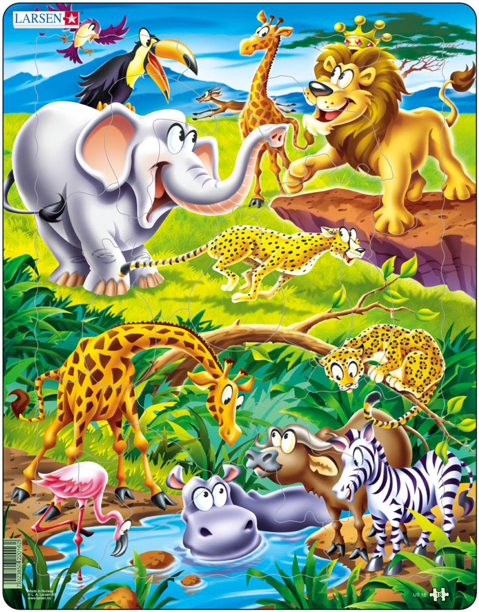 Larsen Пазл Животные сафариUS16Пазл Larsen Животные сафари станет отличным развлечением для вашего ребенка. Пазл позволит ребенку собрать красочную картинку и познакомиться с обитателями африканских джунглей. Выполненные из высококачественного трехслойного картона, пазлы Larsen не деформируются. Все пазлы снабжены специальной подложкой, благодаря чему их удобно собирать. Игра с пазлами благоприятно влияет на развитие ребенка. Веселая игра сопровождается манипуляциями с мелкими предметами, сопоставлением и сложением деталей, в результате чего развивается сенсорное восприятие и мелкая моторика. Порадуйте своего малыша таким замечательным подарком!