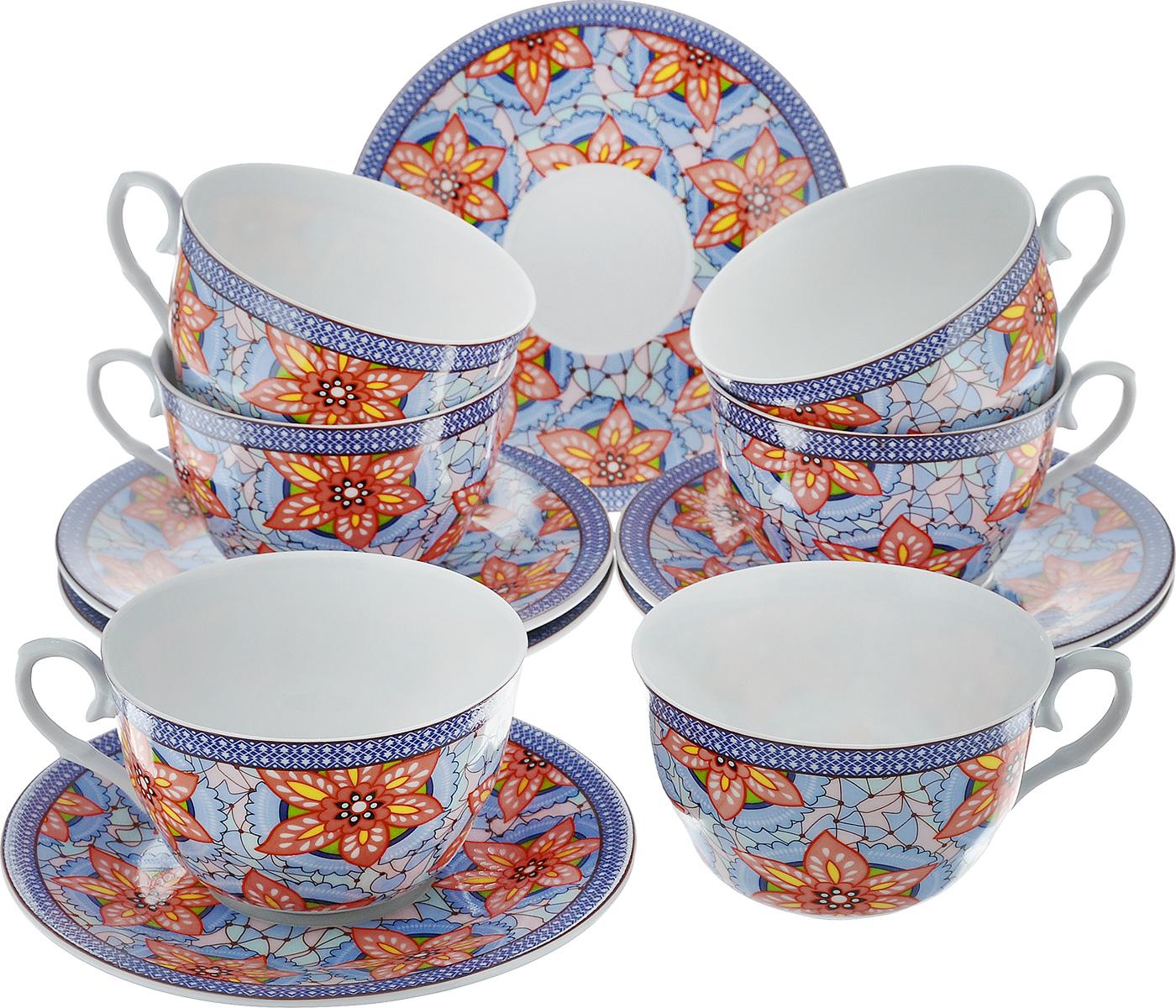 Чайный набор LarangE Витраж, цвет: голубой, персиковый, 12 предметов586-316Чайный набор LarangE Витраж состоит из шести чашек и шести блюдец, изготовленных из фарфора. Предметы набора оформлены изящным ярким рисунком. Чайный набор LarangE Витраж украсит ваш кухонный стол, а также станет замечательным подарком друзьям и близким. Объем чашки: 250 мл. Диаметр чашки по верхнему краю: 9 см. Высота чашки: 6 см. Диаметр блюдца: 14,5 см.
