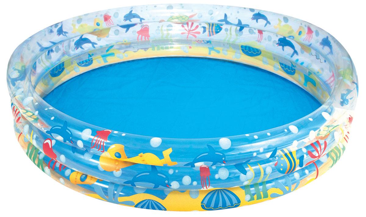 Бассейн надувной Bestway Глубокое погружение. 5100551005Круглый надувной бассейн Bestway Глубокое погружение предназначен для детского и семейного отдыха на свежем воздухе. Отлично подойдет для детей от 2 лет. Бассейн изготовлен из прочного, испытанного винила. Комфортный дизайн бассейна и приятная цветовая гамма сделают его не только незаменимым атрибутом летнего отдыха, но и оригинальным дополнением ландшафтного дизайна участка. В комплект с бассейном входит заплатка для ремонта в случае прокола. Бассейн имеет предохранительные клапаны. Расчетный объем бассейна - 480 литров. Использовать исключительно под наблюдением взрослых!