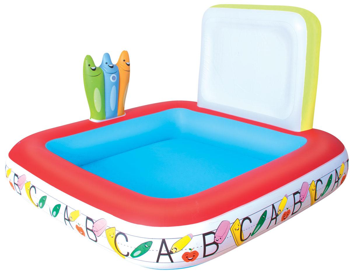 Бассейн надувной игровой Bestway Школа. 5218452184Детский надувной бассейн Bestway Школа будет просто незаменим в летний жаркий день на открытом воздухе. Бассейн выполнен из прочного винила, имеет предохранительные клапаны. На одной стороне бассейна находится разбрызгиватель, который присоединяется к садовому шлангу. Также в комплект входят 5 стираемых цветных мелков, которыми можно рисовать и писать на верхней части бассейна, тем самым подготавливая малыша к школе. Расчетный объем бассейна - 121 литр.
