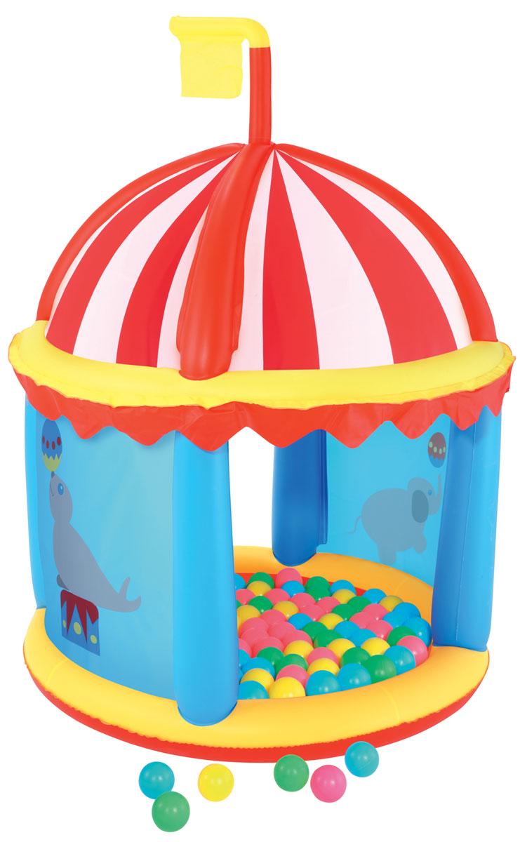 Игровой центр Bestway Форт, с шариками. 5219552195Развивающий центр Bestway Надувная крепость изготовлен из прочного и испытанного винила. Крепость позволит ребенку создать собственное игровое пространство, а родителям не переживать за безопасность малыша. Центр выполнен в ярких цветах, очень легкий и прочный. В комплекте с имеются 100 мягких пластиковых мячиков, которыми можно наполнить дно центра. Пока малыш весело играет в ярком и красочном центре, мама может заняться своими делами. Малыш всегда будет видеть свою маму, а мама, в свою очередь, будет видеть, чем занимается ее ребенок. В комплект также входит ремонтная заплата на случай прокола.