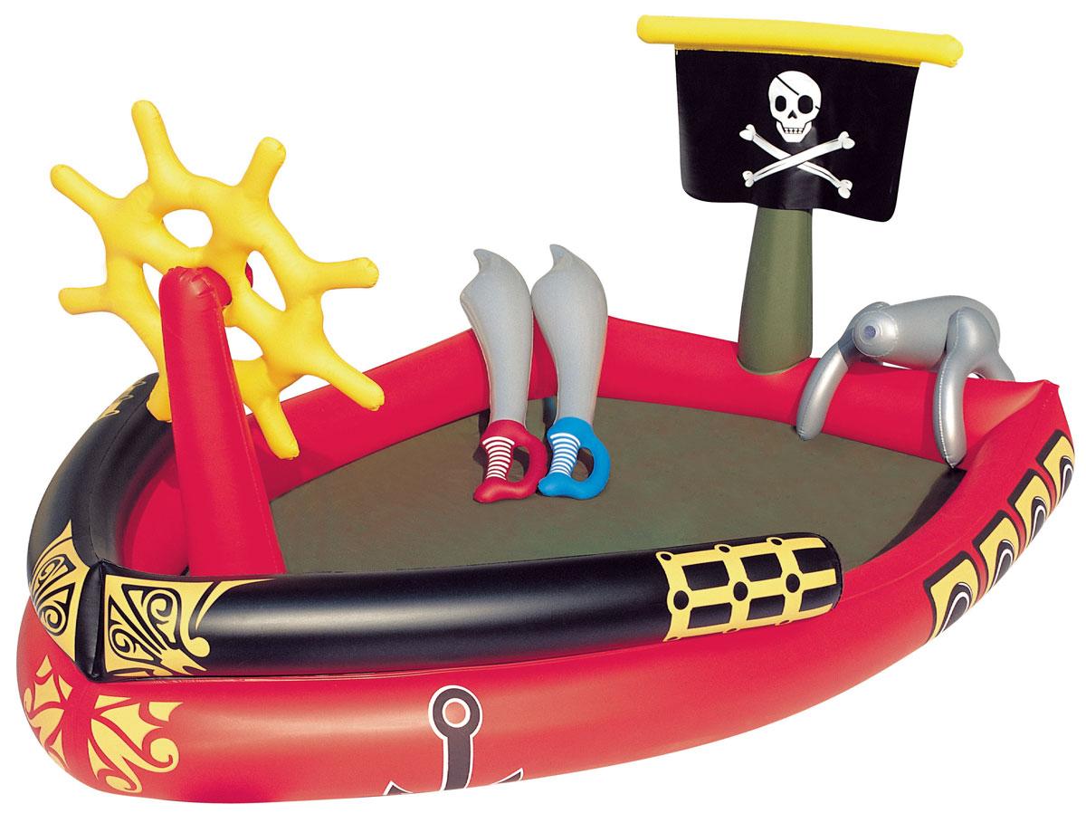 Bestway Бассейн надувной игровой Пираты. 5304153041Надувной игровой бассейн Bestway Пираты изготовлен из прочного и испытанного винила и имеет предохранительные клапаны. В комплекте найдется все необходимое для настоящего пиратского приключения - 2 шпаги и супер-брызгальная водяная пушка, которая присоединяется к обычному садовому шлангу. Вода из бассейна спускается с помощью простого в использовании сливного клапана. В комплект также входит ремонтная заплата на случай прокола. Надувной бассейн подарит много положительных эмоций вашему малышу. Расчетный объем бассейна: 212 литров.