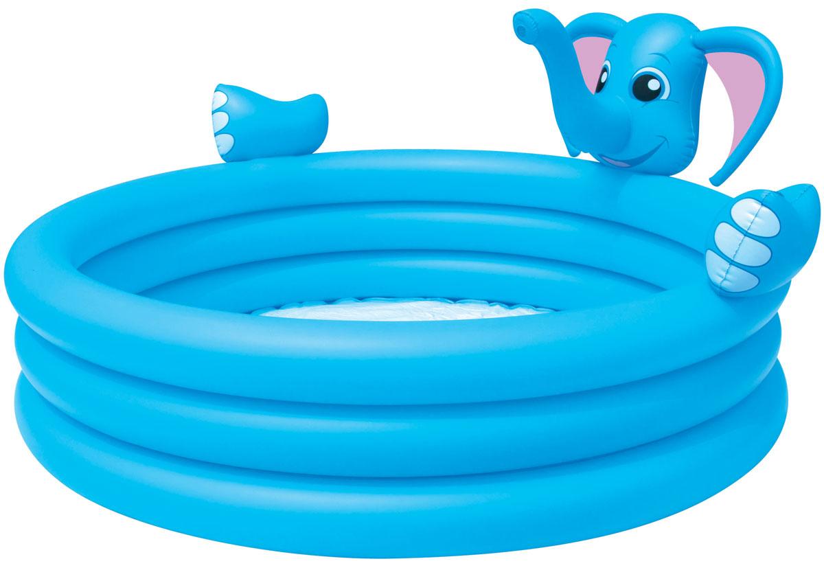 Bestway Бассейн надувной Слоник. 5304853048Надувной бассейн Bestway Слоник выполнен из прочного и высококачественного винила. Надежный и яркий бассейн в виде слоника имеет 3 кольца одинакового размера, а также предохранительные клапаны. На бортике бассейна расположена голова слона, с функцией фонтанчика. Подключите бассейн к садовому шлангу и из хобота слоненка на детей будет литься водичка, что вдвойне весело и интересно! Вода из бассейна спускается с помощью простого в использовании сливного клапана. В комплект с бассейном входит специальная заплата для ремонта изделия в случае прокола. Расчетный объем бассейна: 324 литра.