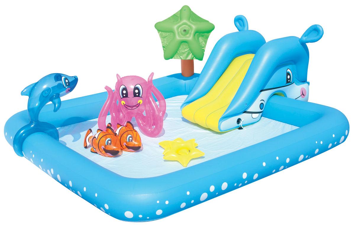 Бассейн надувной игровой Bestway Фантастический аквариум. 5305253052Для ребенка наиболее важен яркий и красочный внешний вид бассейна, а также его глубина. А вот для родителей более важным является как безопасность материалов, из которых изготовлен бассейн, так удобство и простота в его установке и эксплуатации. Надувной игровой бассейн Bestway Фантастический аквариум обладает всеми вышеперечисленными характеристиками, поэтому идеально подходит и детям, и родителям. Надувная съемная горка привязывается шнуром через люверсы, разбрызгиватель присоединяется к садовому шлангу и ребят ждет освежающий фонтанчик! Вода из бассейна спускается с помощью простого в использовании сливного клапана. Бассейн оснащен предохранительными клапанами. В комплект с бассейном входит специальная заплата для ремонта изделия в случае прокола. Расчетный объем бассейна: 308 литров.