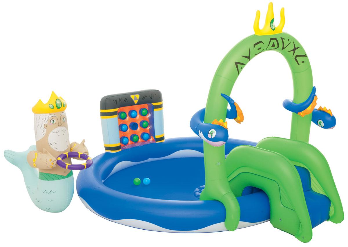 Bestway Бассейн надувной игровой Подводное царство. 5305753057Надувной игровой бассейн Bestway Подводное царство - идеальное развлечение для малышей в жаркую летнюю погоду на свежем воздухе. Бассейн изготовлен из прочного и испытанного винила и имеет предохранительные клапаны. Разбрызгиватель, находящийся на бассейне, присоединяется к садовому шлангу, а съемная горка привязывается шнуром. Для большего комфорта на дне находится надувная подушка, а съемные король и дракон - настоящее развлечение для детей! Вода из бассейна спускается с помощью простого в использовании сливного клапана. В комплект также входит ремонтная заплата на случай прокола. Надувной бассейн подарит много положительных эмоций вашему малышу. Расчетный объем бассейна: 230 литров.