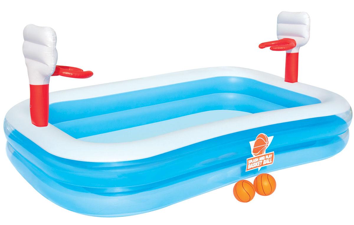 Bestway Бассейн надувной игровой Баскетбол. 5412254122Надувной игровой бассейн Bestway Баскетбол с мягкими стенками станет оптимальным вариантом для детей в жаркую погоду. Изготовлен из прочного винила и замечательно подходит для игры в детский баскетбол. Состоит из 2 колец одинакового размера. Комфортный дизайн бассейна и приятная цветовая гамма сделают его не только незаменимым атрибутом летнего отдыха, но и оригинальным дополнением ландшафтного дизайна участка. Вода из бассейна спускается с помощью простого в использовании сливного клапана. В комплект с бассейном входят 2 мяча и заплата для ремонта в случае прокола. Надувной бассейн подарит много положительных эмоций вашему малышу. Расчетный объем бассейна: 636 литров.