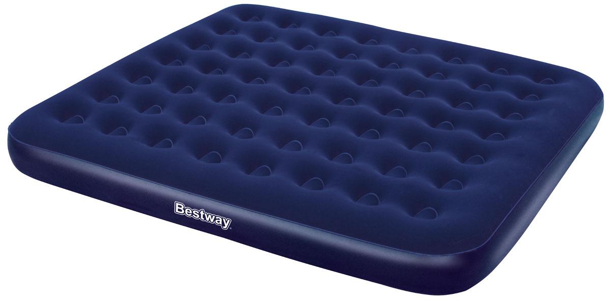 Bestway Матрас надувной, 203 х 183 х 22 см, цвет синий. 6700467004Комфортное флоковое покрытие. Подходит для использования в помещении и на улице. Изготовлено из полимерных материалов. Винтовой клапан для быстрого сдувания или надувания. Прочная баночная конструкция. В комплекте заплатка для ремонта. Размер матраса: 2,03 х 1,83 х 0,22 м.