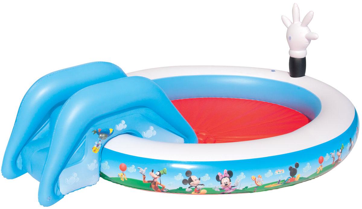 Бассейн надувной игровой Bestway Mickey Mouse ClubHouse, 231 х 165 х 79 см. 9101491014Детский надувной игровой бассейн Bestway Mickey Mouse ClubHouse - идеальное летнее развлечение, которое надолго завладеет вниманием ребенка. Бассейн изготовлен из прочного и испытанного винила, имеет предохранительные клапаны. К бассейну при помощи шнура привязывается горка. Надувная подушка на дне бассейна обеспечивает наибольший комфорт. Вода из бассейна спускается с помощью простого в использовании сливного клапана. Оформлен бассейн изображениями Микки Мауса и его друзей. В комплект с бассейном входит специальная заплата для ремонта изделия в случае прокола. Расчетный объем бассейна: 219 литров.