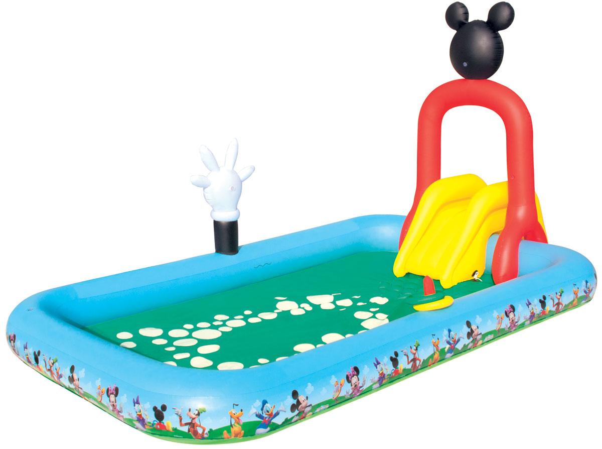 Игровой бассейн Bestway, с брызгалкой и принадлежностями для игр. 9101691016Для ребенка наиболее важен яркий и красочный внешний вид бассейна, а также его глубина. А вот для родителей более важным является как безопасность материалов, из которых изготовлен бассейн, так удобство и простота в его установке и эксплуатации. Надувной игровой бассейн Bestway Mickey Mouse ClubHouse обладает всеми вышеперечисленными характеристиками, поэтому идеально подходит и детям, и родителям. Надувная съемная горка привязывается шнуром через люверсы, разбрызгиватель присоединяется к садовому шлангу и ребят ждет освежающий фонтанчик! Нажмите на кнопку - рука Микки брызнет водой! Вода из бассейна спускается с помощью простого в использовании сливного клапана. Бассейн оснащен предохранительными клапанами. В комплект с бассейном входит специальная заплата для ремонта изделия в случае прокола. Расчетный объем бассейна: 436 литров.