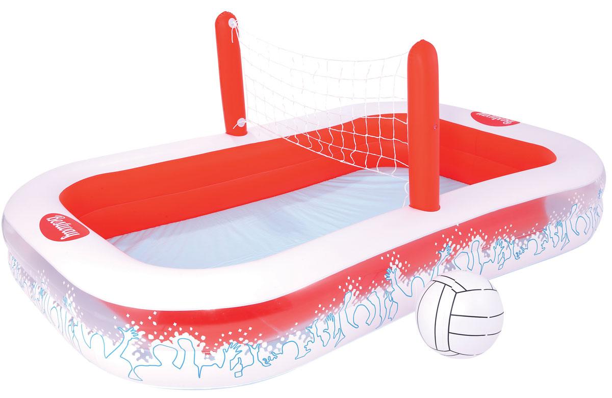 Бассейн надувной игровой Bestway Волейбол. 5412554125Детский надувной игровой бассейн Bestway Волейбол - идеальное летнее развлечение, которое надолго завладеет вниманием ребенка. Бассейн способен превратить дачный участок в настоящий волейбольный матч. Бассейн состоит из двух колец одинакового размера. В комплект входят волейбольный мяч и сетка. Дети с удовольствием будут заниматься спортом и принимать водные процедуры одновременно. Вода из бассейна спускается с помощью простого в использовании сливного клапана. В комплект с бассейном входит специальная заплата для ремонта изделия в случае прокола. Расчетный объем бассейна: 636 литров.