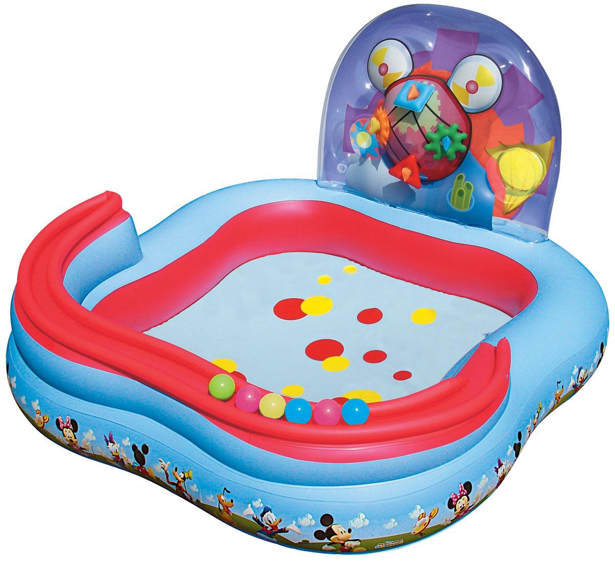 Bestway Игровой бассейн, с принадлежностями для игр. 91015B91015BДетский надувной игровой бассейн Bestway Mickey Mouse ClubHouse - идеальное летнее развлечение, которое надолго завладеет вниманием ребенка. Бассейн изготовлен из прочного и испытанного винила, имеет предохранительные клапаны. В комплект к бассейну входят 4 надувных кольца, 6 мячей для игры, надувная горка для катящихся мячиков. Оформлен бассейн изображениями Микки Мауса и его друзей. Это отличный отдых для всех детей! В комплект также входит специальная заплата для ремонта изделия в случае прокола. Расчетный объем бассейна: 151 литр.