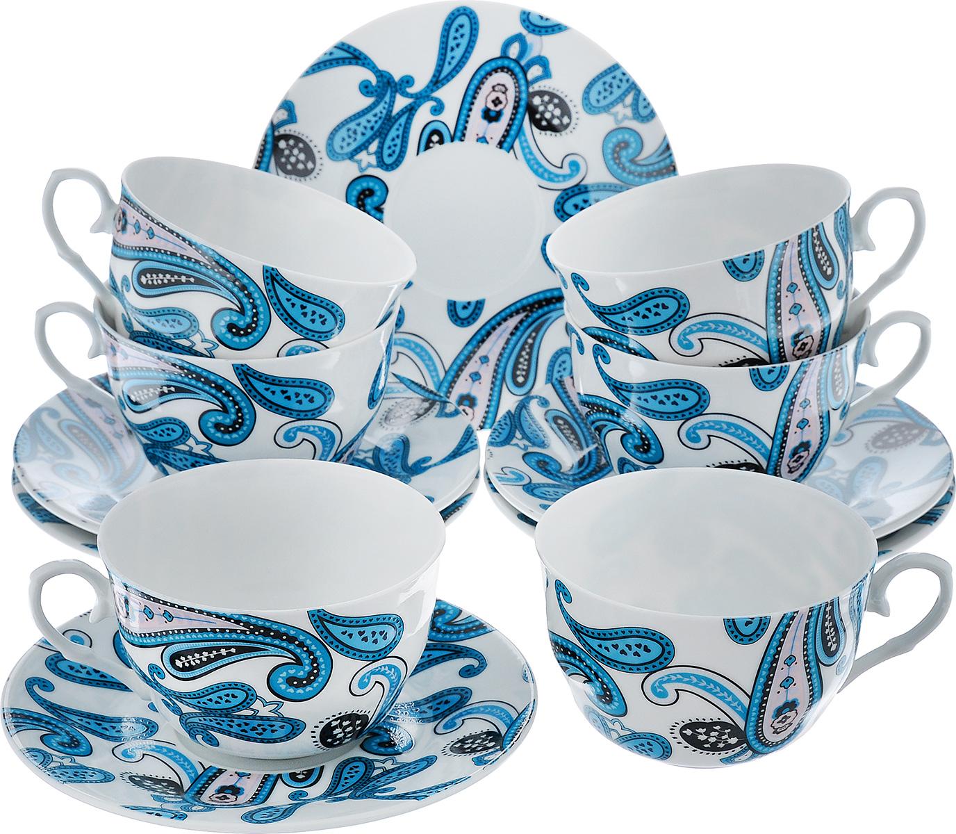 Чайный набор LarangE Пейсли, цвет: белый, синий, 12 предметов586-314Чайный набор LarangE Пейсли состоит из шести чашек и шести блюдец, изготовленных из фарфора. Предметы набора оформлены изящным ярким рисунком. Чайный набор LarangE Пейсли украсит ваш кухонный стол, а также станет замечательным подарком друзьям и близким. Объем чашки: 250 мл. Диаметр чашки по верхнему краю: 9 см. Высота чашки: 6 см. Диаметр блюдца: 14,5 см.