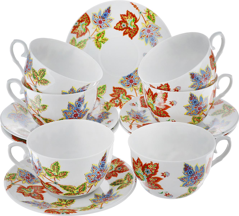 Чайный набор LarangE Восточный микс, цвет: оранжевый, синий, зеленый, 12 предметов586-318Чайный набор LarangE Восточный микс состоит из шести чашек и шести блюдец, изготовленных из фарфора. Предметы набора оформлены изящным ярким рисунком. Чайный набор LarangE Восточный микс украсит ваш кухонный стол, а также станет замечательным подарком друзьям и близким. Объем чашки: 250 мл. Диаметр чашки по верхнему краю: 9 см. Высота чашки: 6 см. Диаметр блюдца: 14,5 см.