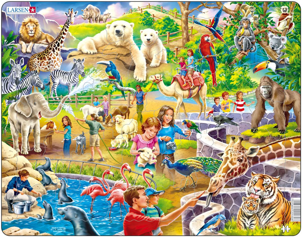 Larsen Пазл ЗоопаркUS30Пазл Larsen Зоопарк станет отличным развлечением для вашего ребенка. Пазл позволит ребенку в интересной игровой форме собрать красочную картинку с животными и посетителями зоопарка. Выполненные из высококачественного трехслойного картона, пазлы Larsen не деформируются. Все пазлы снабжены специальной подложкой, благодаря чему их удобно собирать. Игра с пазлами благоприятно влияет на развитие ребенка. Веселая игра сопровождается манипуляциями с мелкими предметами, сопоставлением и сложением деталей, в результате чего развивается сенсорное восприятие и мелкая моторика. Порадуйте своего малыша таким замечательным подарком!