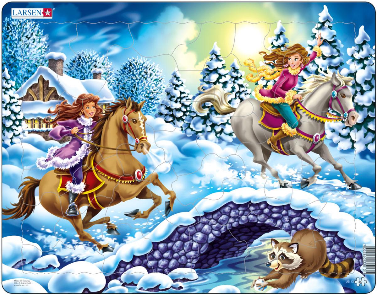 Larsen Пазл НаездницыUS13Пазл Larsen Наездницы изображает двух очаровательных всадниц, скачущих на прекрасных лошадях по сказочной зимней дороге. Выполненные из высококачественного трехслойного картона, пазлы не деформируются и легко берутся в руки. Все пазлы снабжены специальной подложкой, благодаря чему их удобно собирать. Размер готового пазла: 36,5 см х 28,5 см.