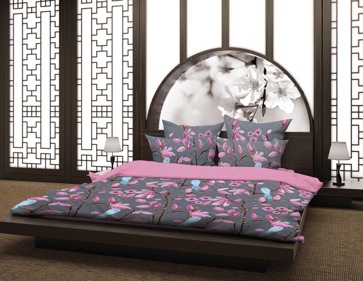 Комплект белья Волшебная ночь Магнолия, 2-спальный, наволочки 70х70 и 40х40, цвет: серый, розовый. 188420188420Комплект белья Волшебная ночь Магнолия состоит из пододеяльника, простыни, двух наволочек на спальные подушки и двух наволочек на подушки-думочки. Комплект выполнен из сатина - плотной ткани с мягким грифом. Изделия оформлены красивым рисунком в стиле этно, который сделает спальню модной и стильной. Сатин - это натуральная ткань, которая производится из хлопкового волокна. Полотно этого материала весьма приятное на ощупь. Кроме этого, его отличие состоит в своеобразном блеске. Сатин обладает высокой прочностью и стойкостью к выцветанию, выдерживает большое количество стирок. Рекомендации по уходу: - Машинная и ручная стирка при температуре 60°C, - Не отбеливать, - Гладить при высокой температуре, - Сушить в стиральной машине при средней температуре, - Химчистка запрещена.