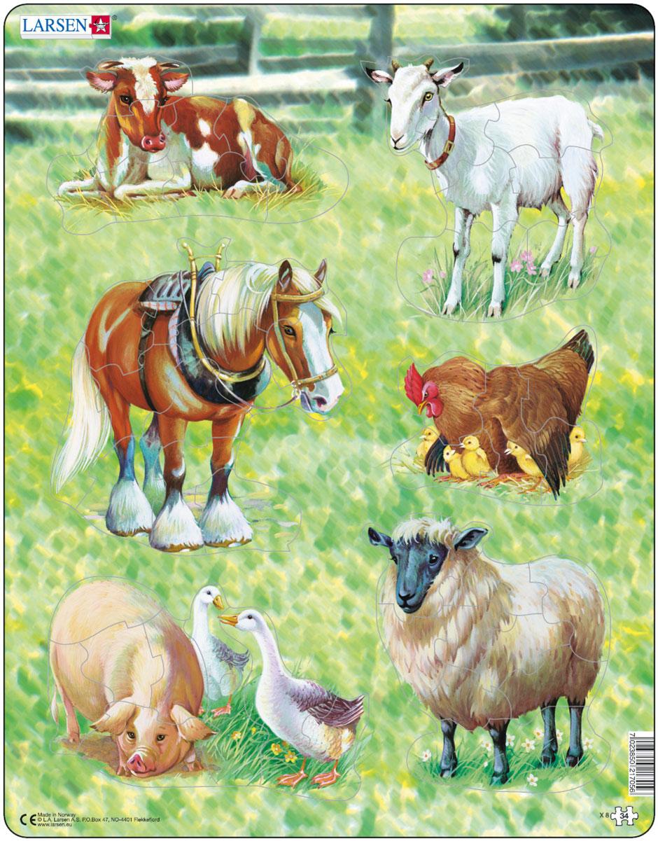 Larsen Пазл Домашние животныеX8Пазл Larsen Домашние животные станет отличным развлечением для вашего ребенка. Пазл познакомит ребенка с различными обитателями фермы. Выполненные из высококачественного трехслойного картона, пазлы Larsen не деформируются. Все пазлы снабжены специальной подложкой, благодаря чему их удобно собирать. Игра с пазлами благоприятно влияет на развитие ребенка. Веселая игра сопровождается манипуляциями с мелкими предметами, сопоставлением и сложением деталей, в результате чего развивается сенсорное восприятие и мелкая моторика. Порадуйте своего малыша таким замечательным подарком!
