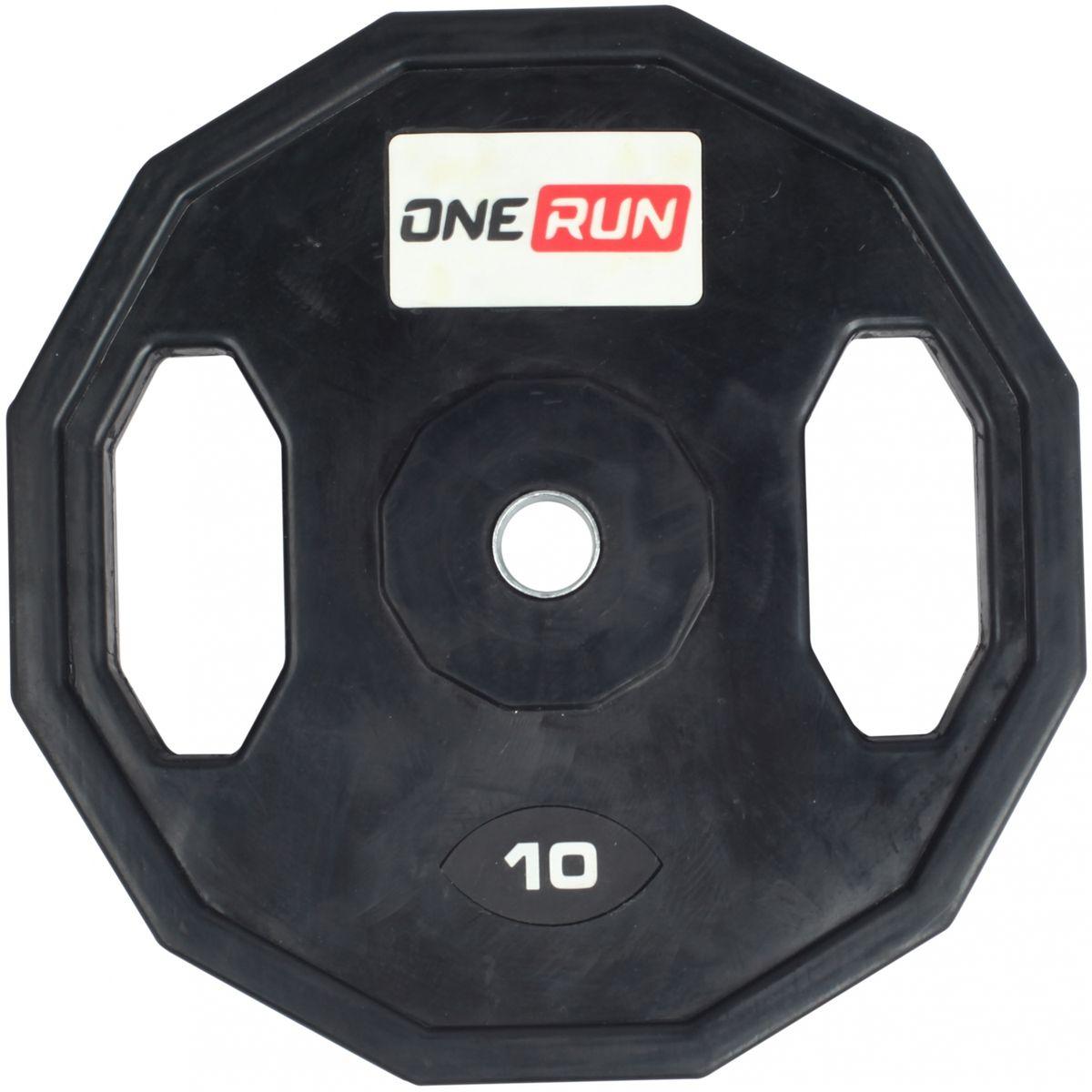 Диск обрезиненный OneRun 10 кг с хватами, диаметр 26 мм, черный, 471-8358