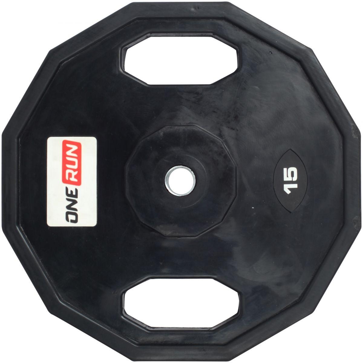Диск обрезиненный OneRun 15 кг с хватами, диаметр 26 мм, черный, 471-8359
