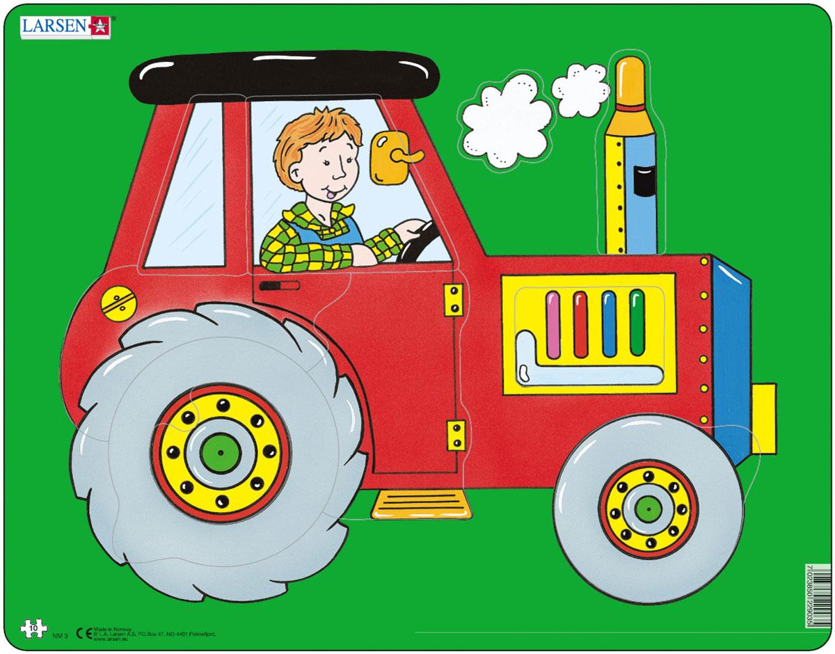 Larsen Пазл Трактор NM3NM3Пазл Larsen Трактор NM3 изображает большой яркий трактор с трактористом. Благодаря крупным размерам деталей и небольшому количеству элементов собрать этот пазл будет под силу даже самым маленьким. Выполненные из высококачественного трехслойного картона, пазлы не деформируются и легко берутся в руки. Все пазлы снабжены специальной подложкой, благодаря чему их удобно собирать. Размер готового пазла: 36,5 см х 28,5 см.