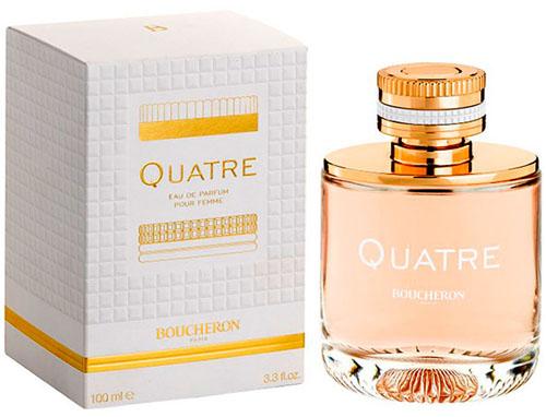Boucheron Quatre Pour Femme Парфюмированная вода 30 мл13398Фруктовые, цветочные. Цитрусы, грейпфрут, тангерин, апельсин, зеленое яблоко, персик, жасмин, роза, клубника, карамель, ваниль, кашемир, белый мускус.