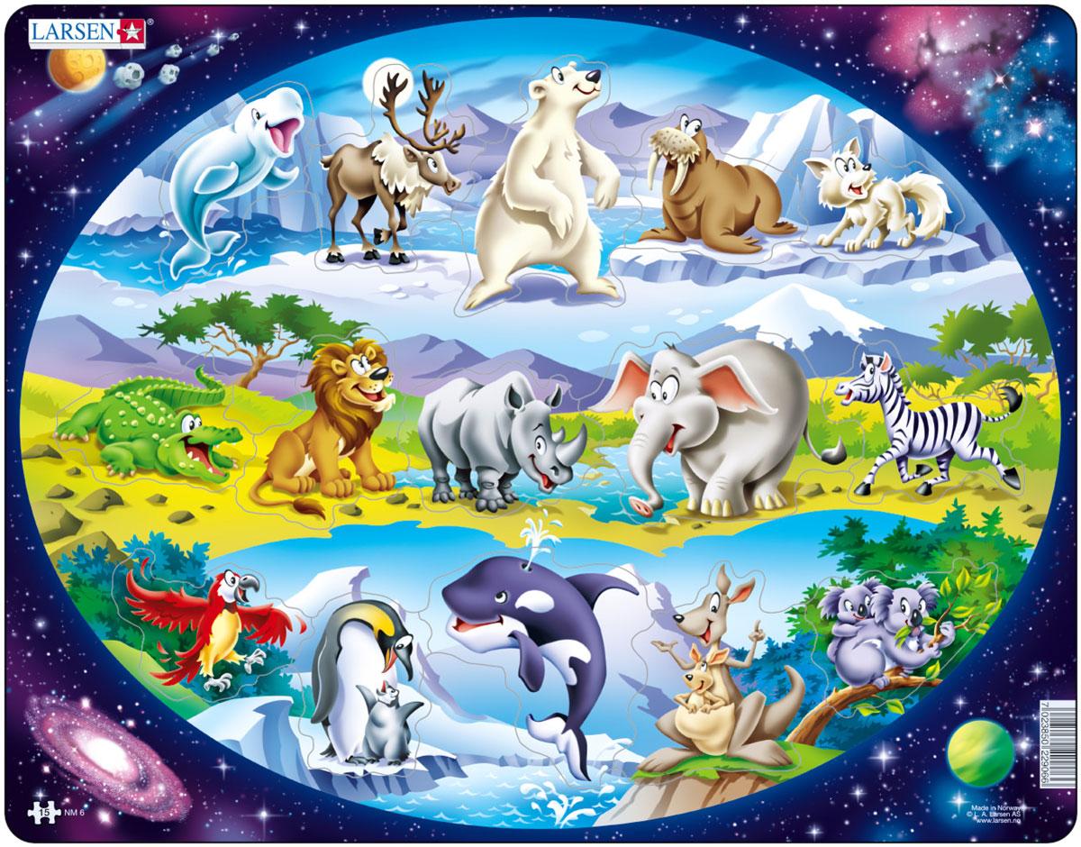 Larsen Пазл Планета животныхNM6Пазлы Ларсен направлены, прежде всего, на обучение. Пазл Larsen Планета животных познакомит малыша с различными животными Северного и Южного полюсов, Африки и Австралии. Выполненные из высококачественного трехслойного картона, пазлы не деформируются и легко берутся в руки. Все пазлы снабжены специальной подложкой, благодаря чему их удобно собирать. Размер готового пазла: 36,5 см х 28,5 см.
