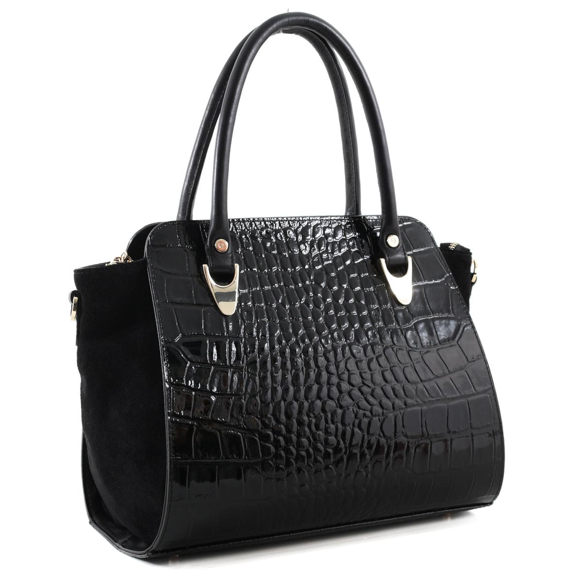 Сумка женская 2856 FIATO крокодил верос /замша черный2856 _черныйРазмеры сумки: 31 х 23 х 16 см.