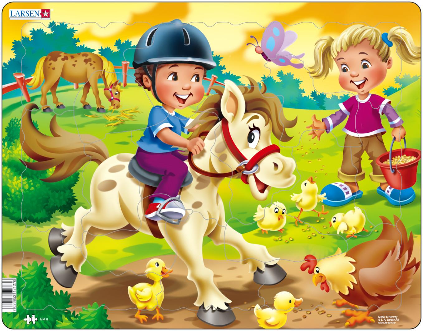 Larsen Пазл Дети на ферме ПониBM8Larsen Дети на ферме. Пони станет отличным развлечением для вашего ребенка. Удивительный по красоте пазл расскажет малышу о жизни на веселой ферме. На готовом изображении представлен мальчик, катающийся на пони, а также множество дополнительных деталей и персонажей, которые делают сборку пазла еще более увлекательным занятием. Выполненные из высококачественного трехслойного картона, пазлы Larsen не деформируются. Все пазлы снабжены специальной подложкой, благодаря чему их удобно собирать. Игра с пазлами благоприятно влияет на развитие ребенка. Веселая игра сопровождается манипуляциями с мелкими предметами, сопоставлением и сложением деталей, в результате чего развивается сенсорное восприятие и мелкая моторика. Порадуйте своего малыша таким замечательным подарком!