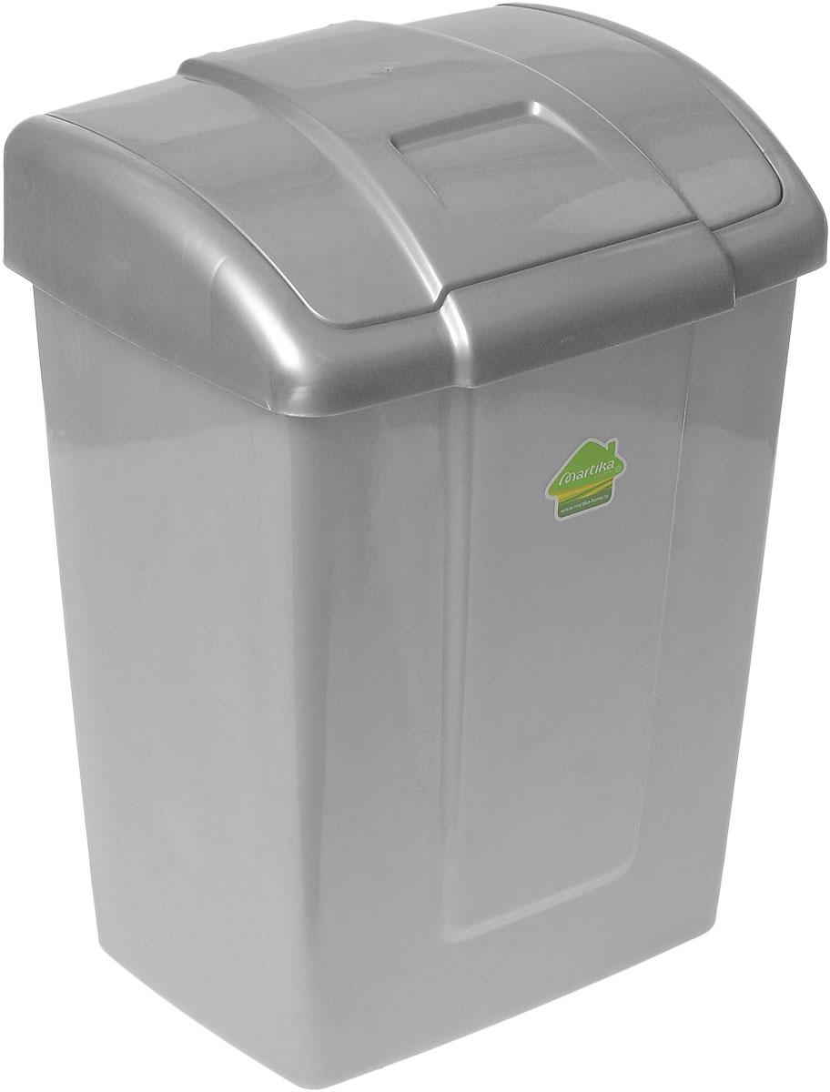 Контейнер для мусора Martika Форте, цвет: серый, 13 лС341_серыйМусорный контейнер Martika Форте, выполненный из прочного пластика, не боится ударов и долгих лет использования. Изделие оснащено крышкой с подвижной перегородкой, с помощью которой его легко использовать. Крышка плотно прилегает, предотвращая распространение запаха. Вы можете использовать такой контейнер для выбрасывания не пищевых отходов. Он может пригодиться в офисе, в ванной комнате или у туалетного столика. Размер контейнера: 27 см х 21 см х 36,5 см.