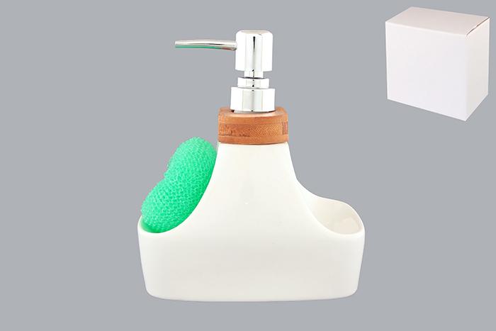 Дозатор Elan Gallery Кристалл, с губкой, цвет: белый, светло-зеленый, 450 мл540023Диспенсер Elan Gallery Кристалл, изготовленный из высококачественной керамики, имеет оригинальную форму в виде емкости с двумя углублениями, на одной из которых, размещается губка для мытья посуды. Горлышко диспансера декорировано деревянной вставкой. Диспенсер снабжен дозатором, выполненным из пластика под хром. Дозатором очень удобно и просто пользоваться: просто нажмите на него и выдавите необходимое количество средства. Диспансер подходит для жидкого мыла, моющего средства для мытья посуды, различных лосьонов. Такой диспансер дополнит интерьер кухни или ванной комнаты и станет замечательным приобретением для любой хозяйки. Размер губки: 8,5 см х 8 см х 2,5 см. Размер диспенсера (с учетом дозатора): 15 см х 9 см х 18 см. Объем диспансера: 450 мл.