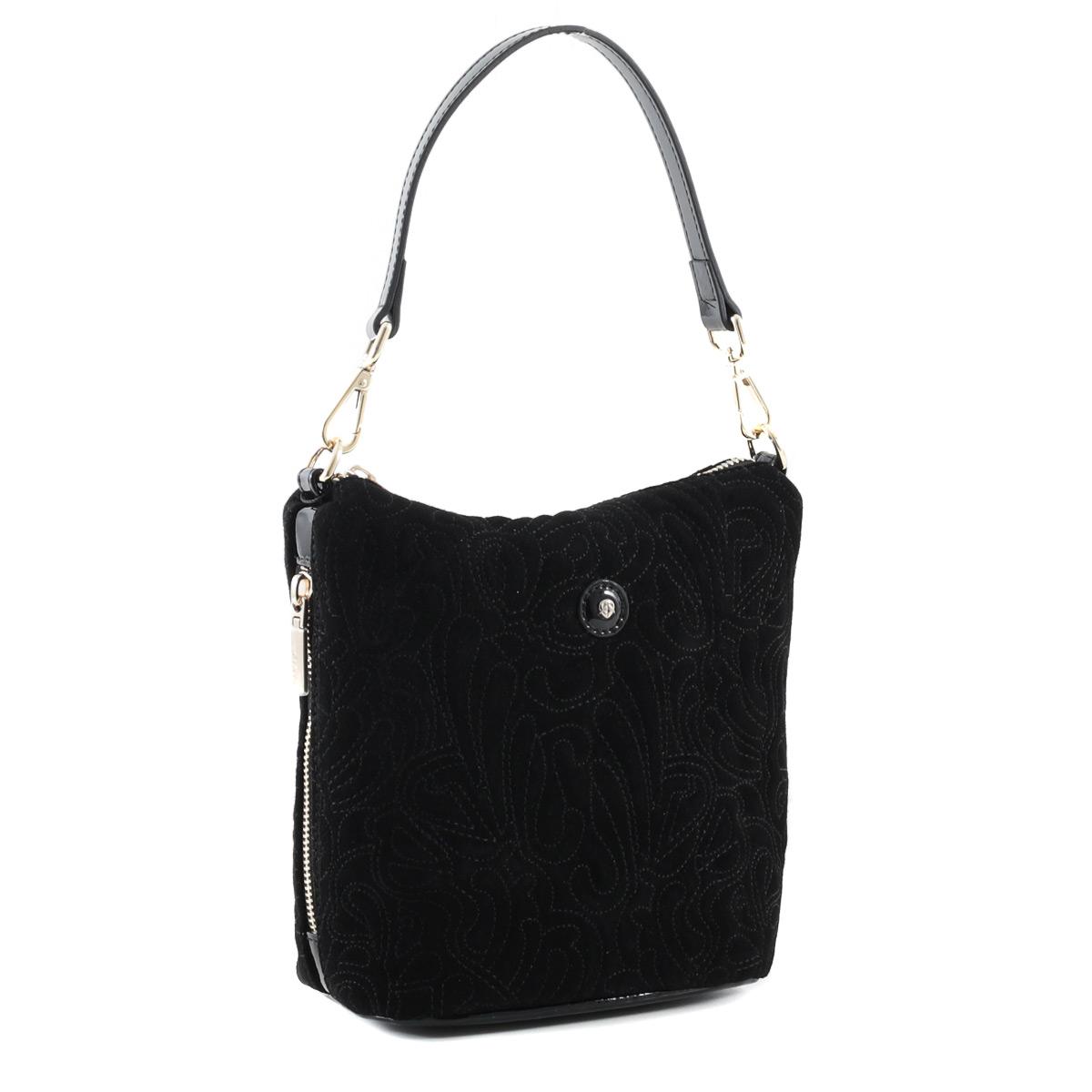 Сумка женская Fiato, цвет: черный. 3509035090_черныйЭлегантная женская сумка Fiato, выполненная из натуральной замши и натуральной лакированной кожи, оформлена декоративной прострочкой. Изделие имеет одно отделение, закрывающееся на застежку-молнию. Внутри имеется прорезной карман на застежке-молнии и два накладных открытых кармана. Снаружи, по бокам расположены прорезные карманы на застежках-молниях. Сумка оснащена одной съемной ручкой. В комплект входит съемный плечевой ремень регулируемой длины. Сумка упакована в фирменный чехол. Дизайн сумки, сочетающий классические формы с оригинальным оформлением, позволит вам подчеркнуть свою индивидуальность и сделает ваш образ изысканным и завершенным.