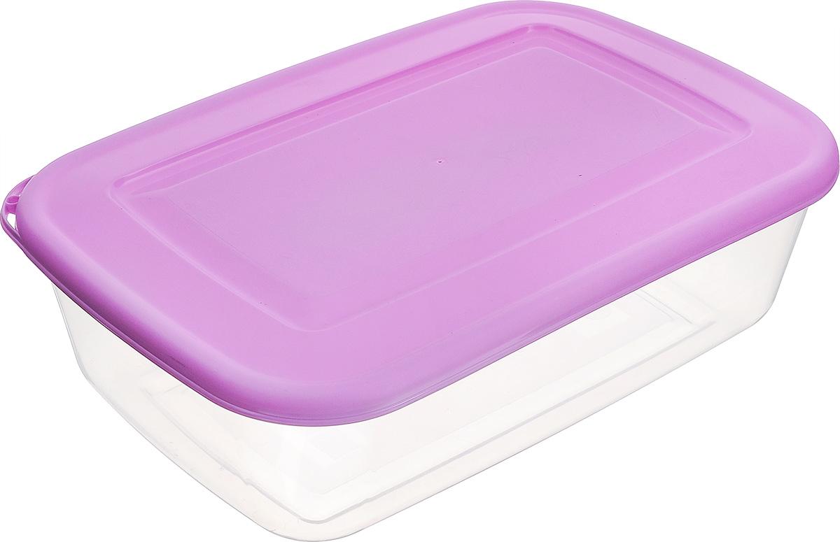 Контейнер Бытпласт, цвет: прозрачный, фиолетовый, 3,4 лС11116Контейнер Бытпласт, изготовленный из пищевого пластика, предназначен специально для хранения пищевых продуктов. Крышка легко открывается и плотно закрывается. Контейнер устойчив к воздействию масел и жиров, легко моется. Прозрачные стенки позволяют видеть содержимое. Можно использовать в микроволновой печи только для разогрева пищи и без крышки, подходит для хранения пищи в холодильнике. Можно мыть в посудомоечной машине.