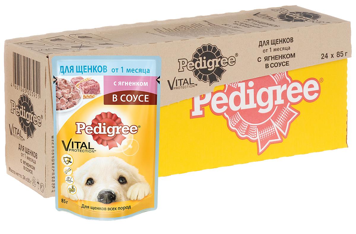 Консервы для щенков Pedigree, с ягненком в соусе, 85 г, 24 шт40738Консервы для щенков Pedigree - это не просто восхитительно вкусные мясные кусочки, но и полезный, оптимально сбалансированный рацион для щенков от 1 месяца. Он разработан с учетом потребностей собаки в период наиболее интенсивного роста и дает вашему щенку необходимые жизненные силы. Витамин Е и цинк поддерживают иммунную систему. Линолевая кислота и цинк необходимы для здоровья кожи и шерсти. Высокоусвояемые ингредиенты и клетчатка нужны для оптимального пищеварения. Не содержит ароматизаторов, сои и консервантов, усилителей вкуса, искусственных красителей. Состав: мясо и субпродукты (в том числе ягненок минимум 4%), злаки, растительное масло, минеральные вещества, жом свекольный, витамины. Пищевая ценность (100 г): белки - 8 г; жиры - 5,5 г; зола - 2 г; клетчатка - 0,3 г; влага - 81 г; кальций - не менее 0,3 г; цинк - не менее 3 мг; витамин А - не менее 120 МЕ; витамин Е - не менее 1 мг. Энергетическая ценность (100 г): 90...