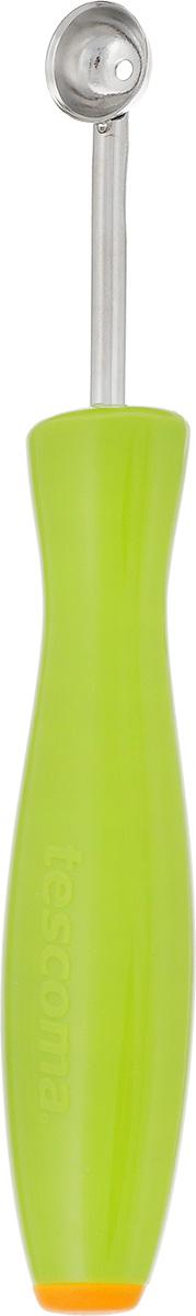 Приспособление для вырезания шариков Tescoma Presto, диаметр 1,2 см422020Приспособление для вырезания шариков Tescoma Presto выполнено из нержавеющей стали и пластика. Инструмент предназначен для вырезания шариков из картофеля, огурцов, морковки и других овощей или фруктов, также его возможно применять для сливочного масла, макаронных изделий. Размер приспособления: 15 см х 2,5 см х 1,5 см. Диаметр: 1,2 см.