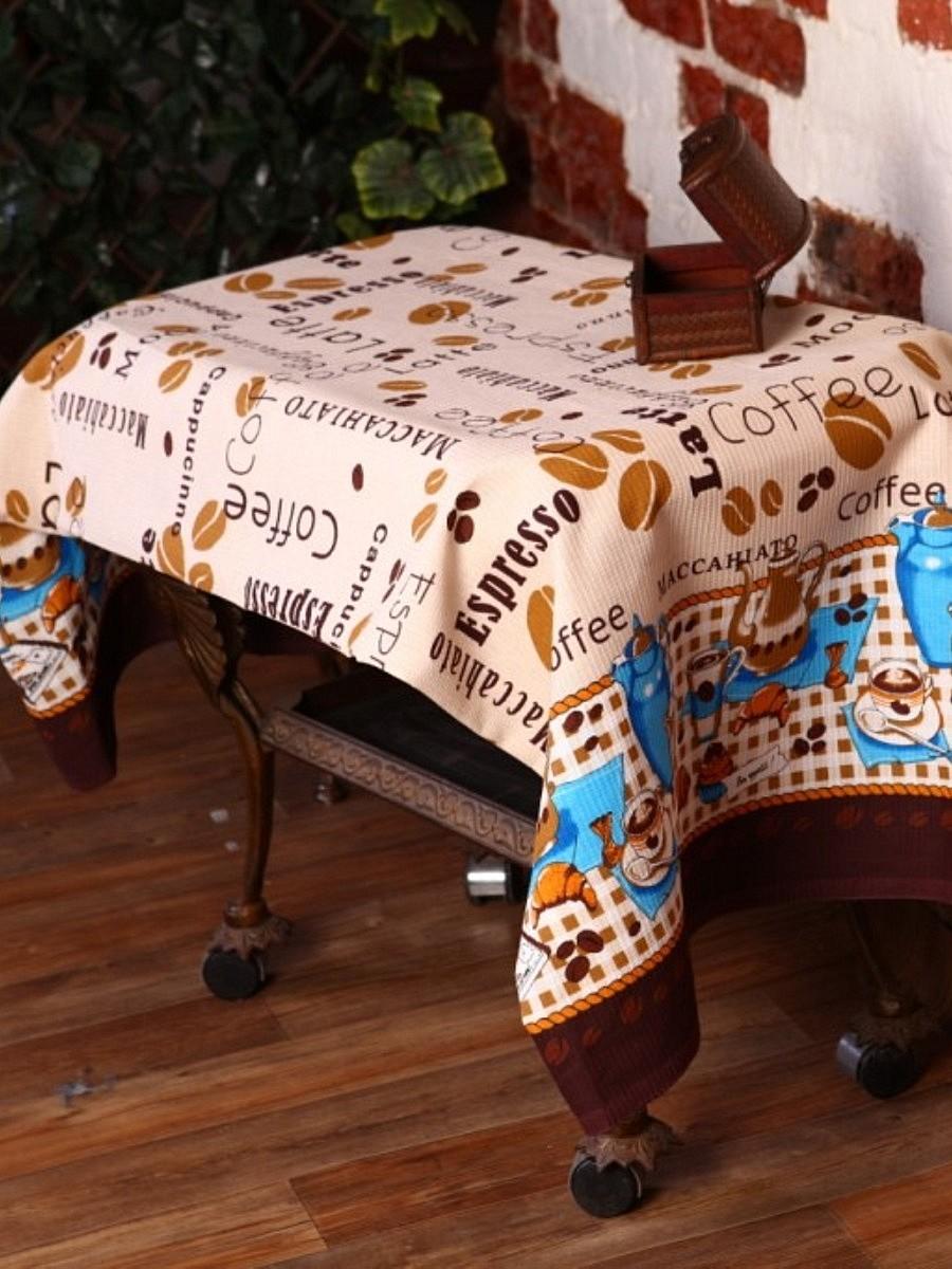 Скатерть Letto, прямоугольная, 145 x 180 см. KSR03-180KSR03-180Скатерть Letto выполнена из 100% хлопка (рогожка), украшенного надписями, изображением кофейных зерен, чашечек и чайников. Изысканный дизайн дополнит интерьер, а натуральная мягкая ткань приятна на ощупь и обладает прекрасным впитывающим свойством. Оригинальная скатерть Letto - отличное приобретение для каждой хозяйки!