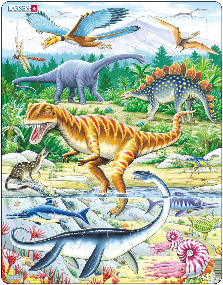 Larsen Пазл Динозавры FH16FH16Пазлы Ларсен направлены, прежде всего, на обучение. Пазл Larsen Динозавры FH16 познакомит детей с динозаврами и другими древними животными доисторического мира. Выполненные из высококачественного трехслойного картона, пазлы не деформируются и легко берутся в руки. Все пазлы снабжены специальной подложкой, благодаря чему их удобно собирать. Размер готового пазла: 36,5 см х 28,5 см.