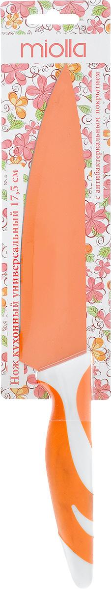 Нож кухонный Miolla, цвет: оранжевый, длина лезвия 17,5 см. 1508055U1508055UКухонный нож Miolla - незаменимый помощник на вашей кухне. Лезвие изготовлено из стали. Стальные лезвия более стойкие к воздействию кислот, содержащихся в продуктах, они более гигиеничны и не подвержены коррозии. Кроме того, лезвия из стали сохраняют остроту дольше, чем другие ножи. Цветное антибактериальное покрытие лезвия предотвращает развитие микробной среды на продуктах, а также препятствует их налипанию и окислению в процессе резки. Легкая, отлично сбалансированная и приятная на ощупь рукоятка удобна в использовании. Разделочный нож используется для нарезания и шинковки любых продуктов. Можно мыть в посудомоечной машине. Общая длина ножа: 30 см.