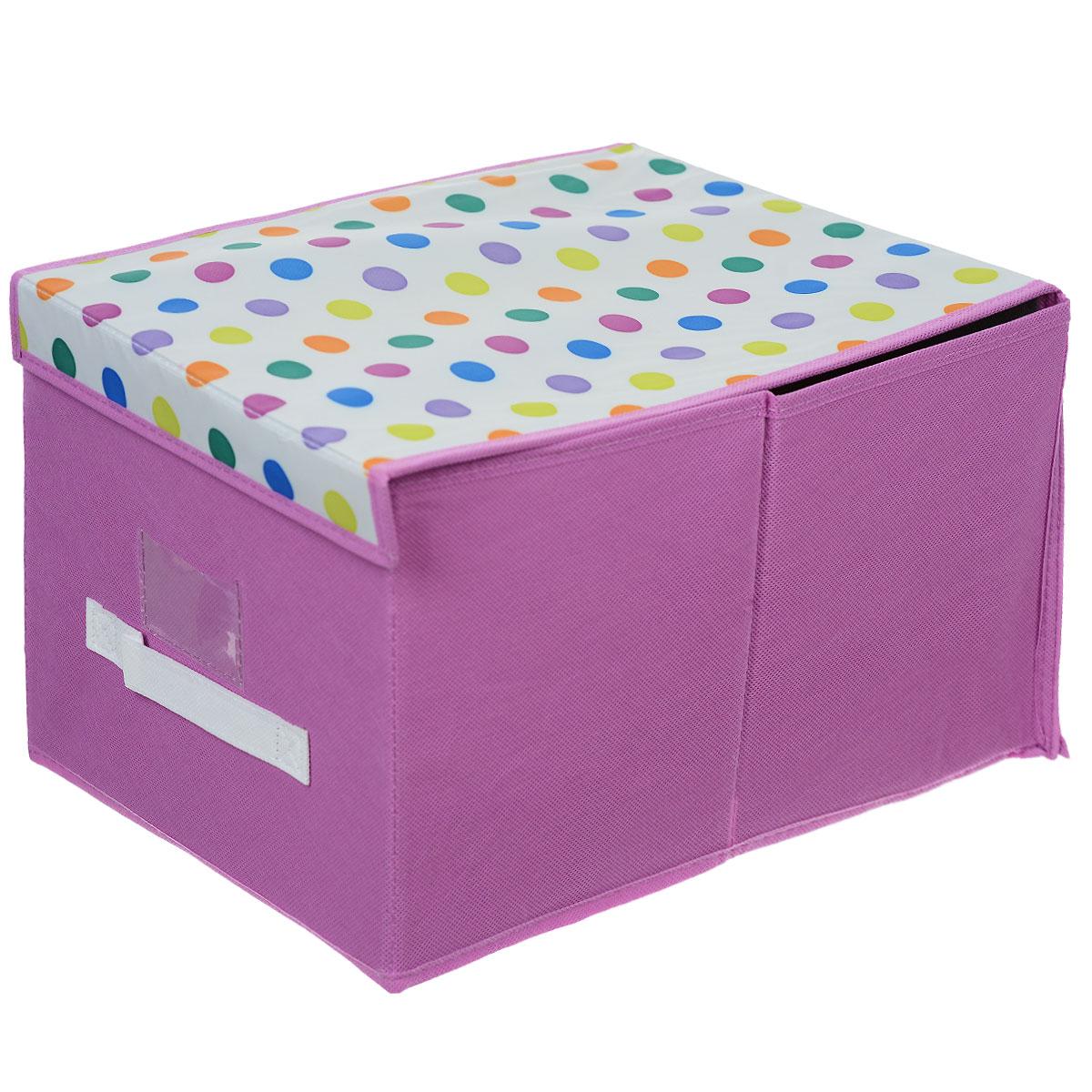 Чехол-коробка Voila Кидс, цвет: сиреневый, белый, 30 х 40 х 25 смCOVLSCBY12K_сиреневый, белыйЧехол-коробка Voila Кидс поможет легко и красиво организовать пространство в детской комнате. Изделие выполнено из полиэстера и нетканого материала, прочность каркаса обеспечивается наличием внутри плотных и толстых листов картона. Чехол-коробка закрывается крышкой на две липучки, что поможет защитить вещи от пыли и грязи. Сбоку имеется ручка. Такой чехол идеально подойдет для хранения игрушек и детских вещей. Яркий дизайн изделия привлечет внимание ребенка и вызовет у него желание самостоятельно убирать игрушки. Складная конструкция обеспечивает компактное хранение.