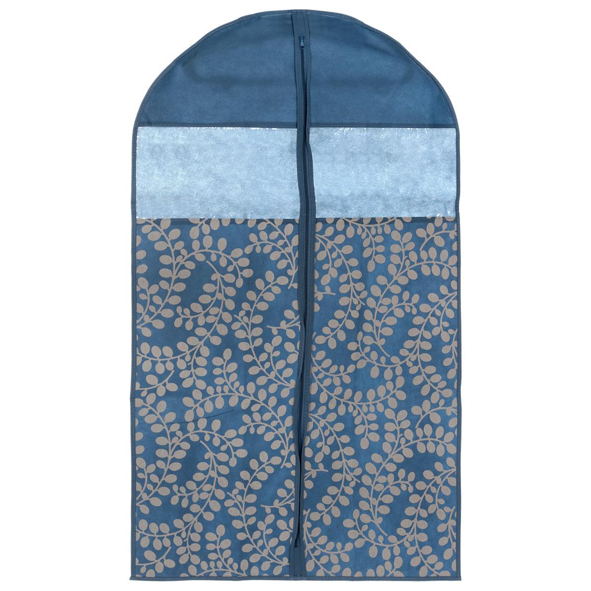 Чехол для пиджака Voila Флораль, цвет: синий, серый, 100 см х 60 смCOVLCATF20_синийЛегкий чехол Voila Флораль выполнен из дышащего нетканого материала (полипропилен), безопасного в использовании. Чехол предназначен для курток, пиджаков и жакетов. Имеет два прозрачных окна и специальное отверстие для крючка вешалки. Закрывается на молнию. Материал можно протирать в случае загрязнения влажной салфеткой или тряпкой. Изделие защищает одежду от пыли, моли, солнечных лучей и загрязнения, в то же время хорошо пропускает воздух. Чехол оформлен оригинальным рисунком. Чехол Voila Флораль надежно сохранит вашу одежду.