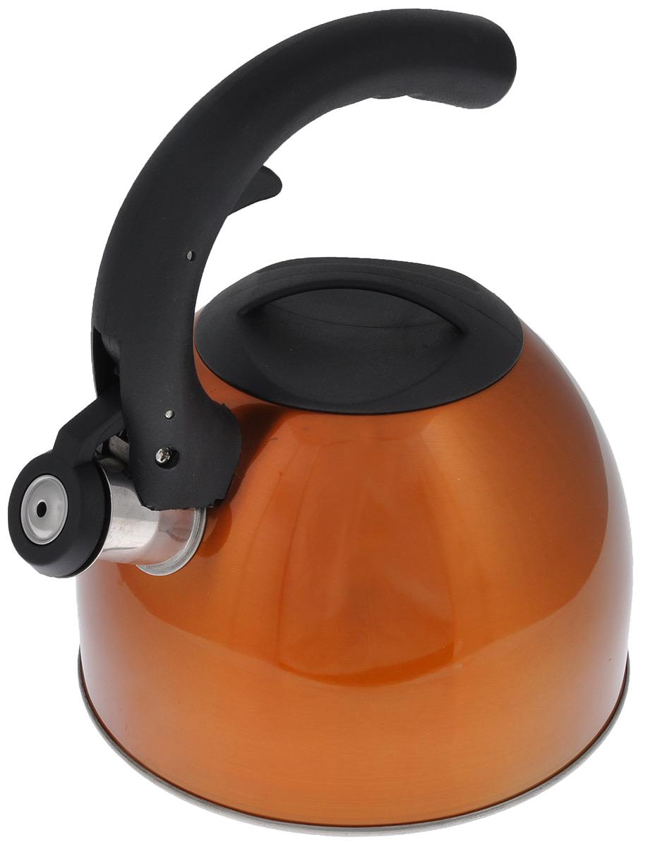 Чайник Mayer & Boch со свистком, цвет: медный, черный, 2,5 л. 2319723197Чайник Mayer & Boch изготовлен из высококачественной нержавеющей стали с внешней цветной поверхностью. Гладкая и ровная поверхность существенно облегчает уход. Чайник оснащен удобной нейлоновой ручкой, которая не нагревается даже при продолжительном периоде нагрева воды. Носик чайника имеет насадку-свисток, что позволит вам контролировать процесс подогрева или кипячения воды. Выполненный из качественных материалов, чайник Mayer & Boch при кипячении сохраняет все полезные свойства воды. Чайник пригоден для использования на всех типах плит, кроме индукционных. Можно мыть в посудомоечной машине. Высота стенок чайника: 12 см. Толщина стенок чайника: 2 мм. Высота чайника (с учетом ручки): 22,5 см.